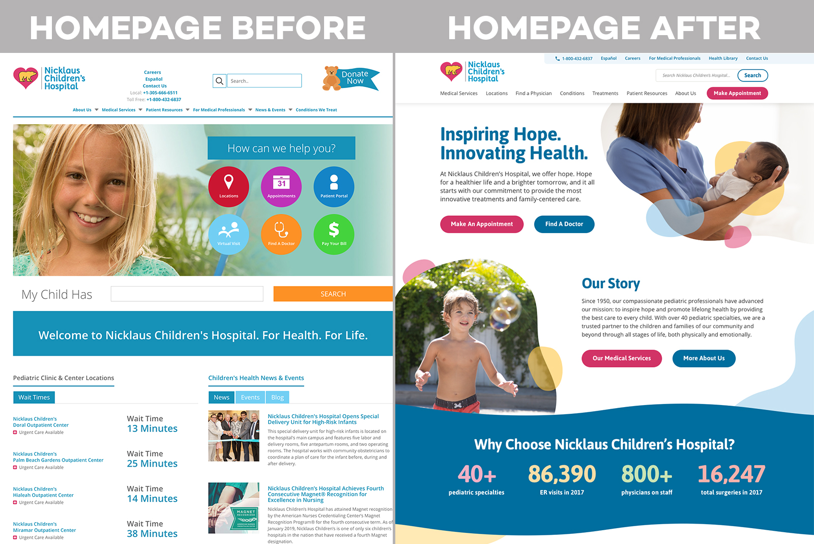 Nicklaus Children's Health System Homepage Before vs. After